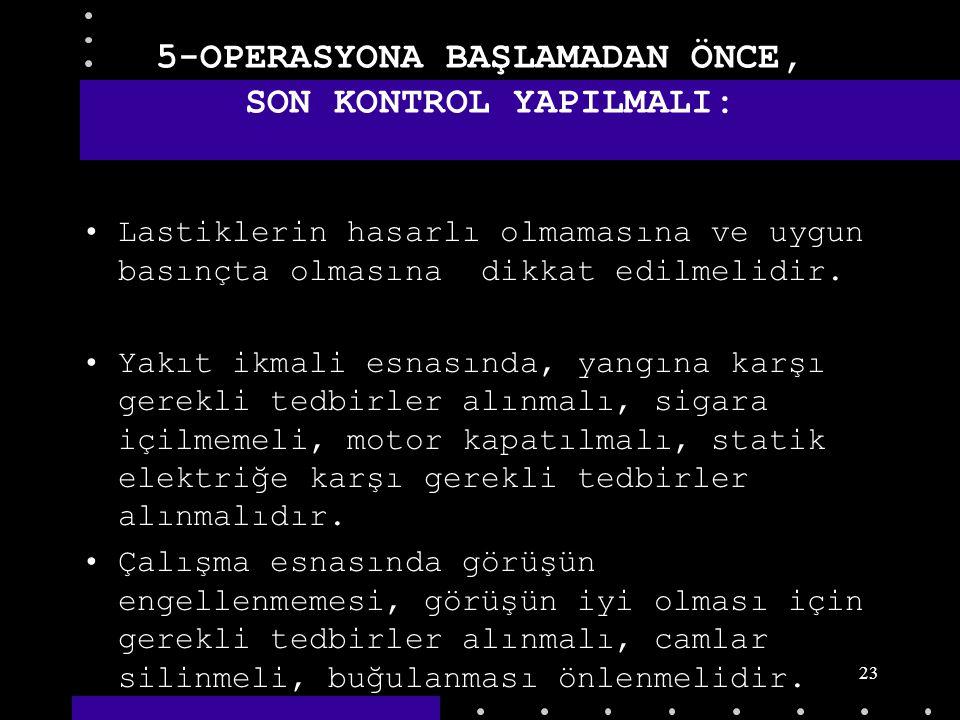 22 5-OPERASYONA BAŞLAMADAN ÖNCE, SON KONTROL YAPILMALI: Operasyona başlamadan önce, bütün mahfazalar, emniyet kemerleri, makinaya ait ve kişisel korum