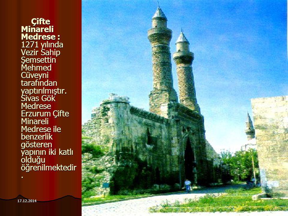101 17.12.2014 Çifte Minareli Medrese : 1271 yılında Vezir Sahip Şemsettin Mehmed Cüveyni tarafından yaptırılmıştır. Sivas Gök Medrese Erzurum Çifte M