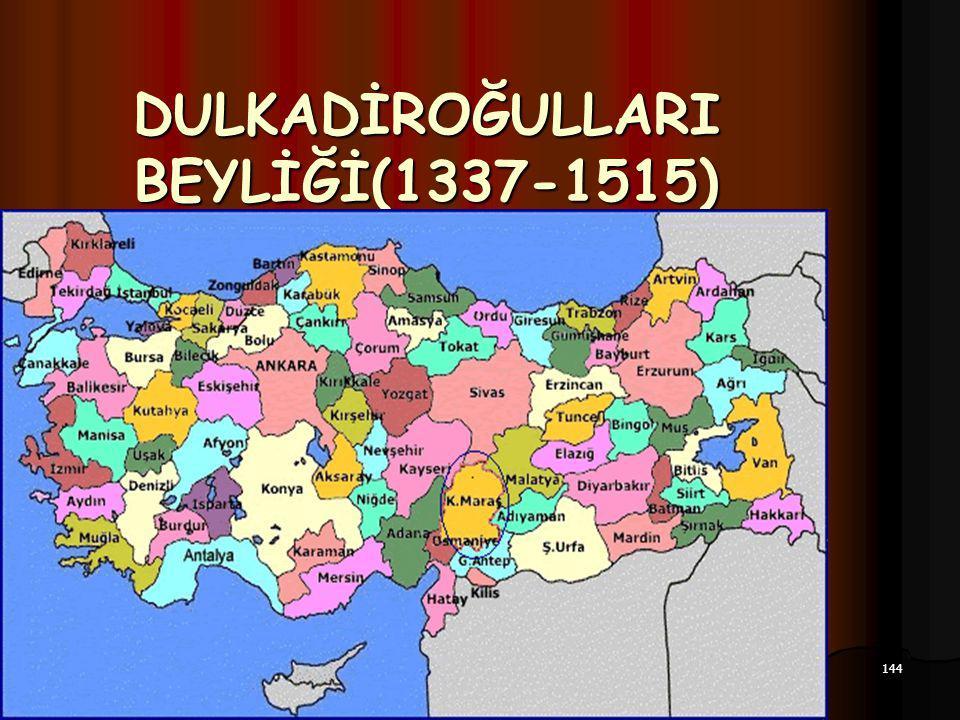 144 17.12.2014 DULKADİROĞULLARI BEYLİĞİ(1337-1515)