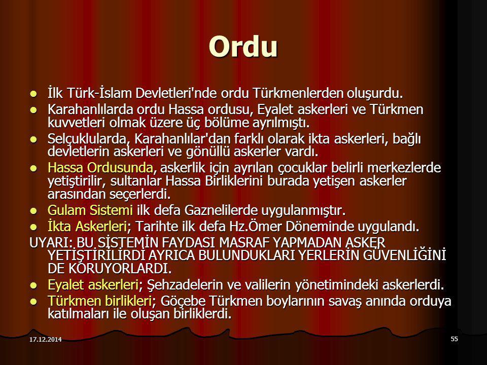 55 17.12.2014 Ordu İlk Türk-İslam Devletleri'nde ordu Türkmenlerden oluşurdu. İlk Türk-İslam Devletleri'nde ordu Türkmenlerden oluşurdu. Karahanlılard