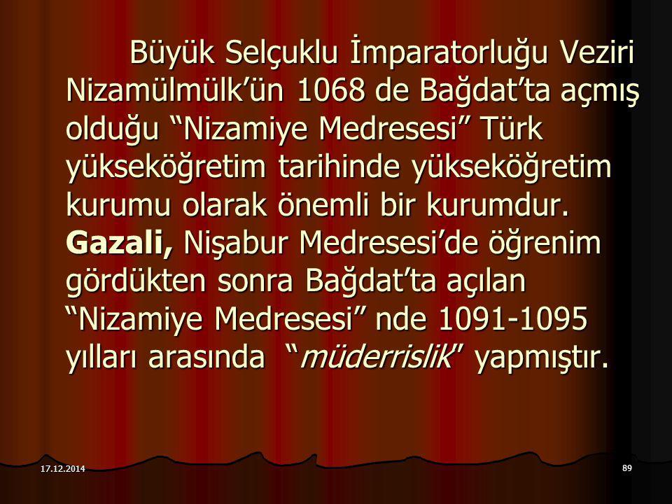 """89 17.12.2014 Büyük Selçuklu İmparatorluğu Veziri Nizamülmülk'ün 1068 de Bağdat'ta açmış olduğu """"Nizamiye Medresesi"""" Türk yükseköğretim tarihinde yüks"""