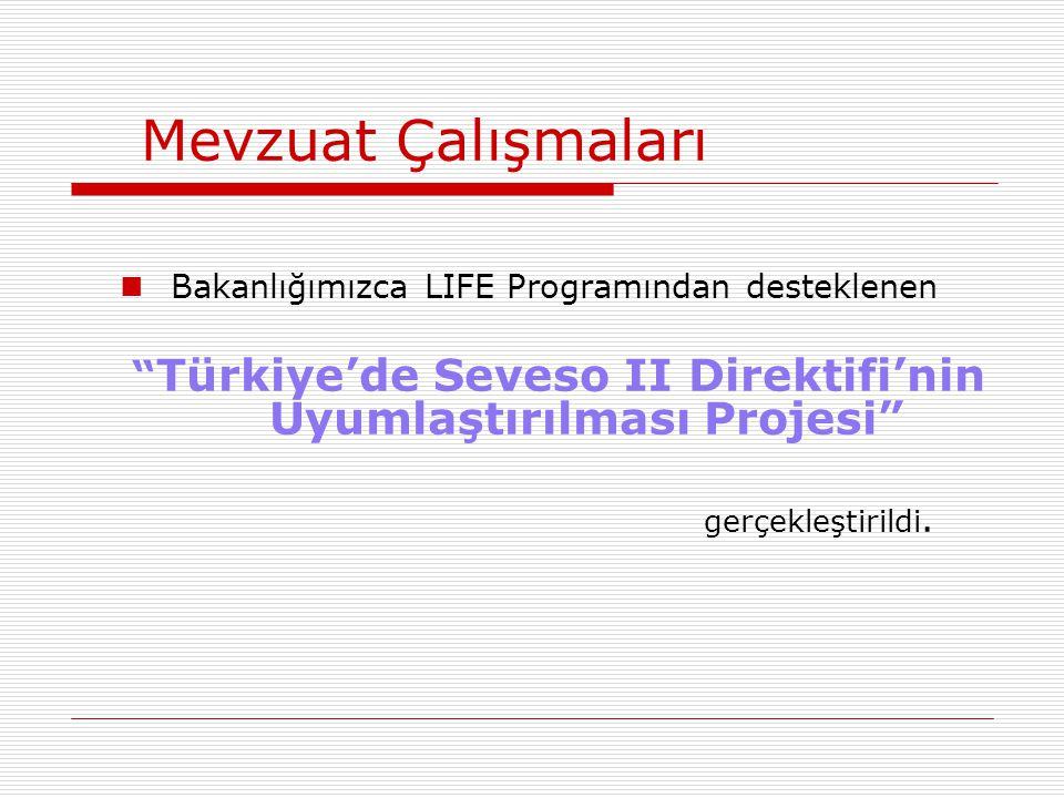 """Mevzuat Çalışmaları Bakanlığımızca LIFE Programından desteklenen """" Türkiye'de Seveso II Direktifi'nin Uyumlaştırılması Projesi"""" gerçekleştirildi."""