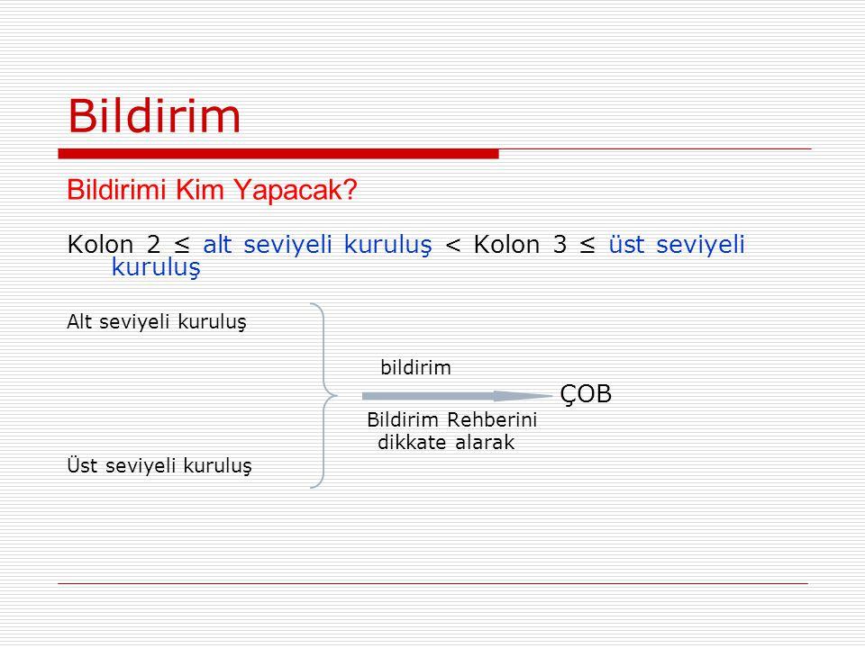 Bildirim Bildirimi Kim Yapacak? Kolon 2 ≤ alt seviyeli kuruluş < Kolon 3 ≤ üst seviyeli kuruluş Alt seviyeli kuruluş bildirim ÇOB Bildirim Rehberini d