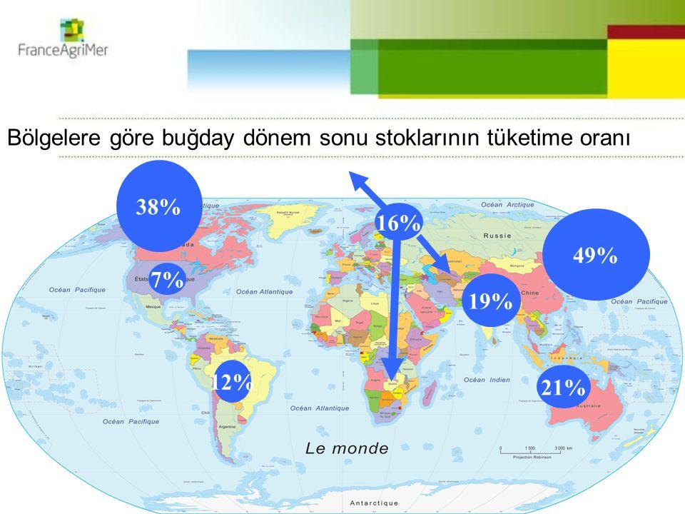 49% 21% 7% 19% 38% 12% Bölgelere göre buğday dönem sonu stoklarının tüketime oranı 16%