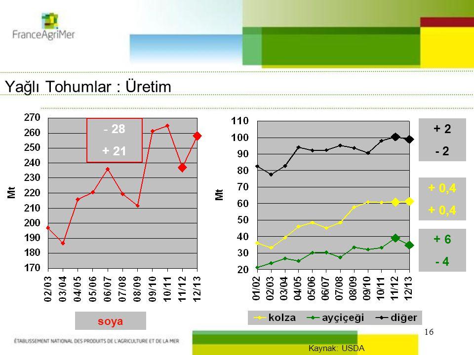 16 Yağlı Tohumlar : Üretim - 28 + 21 + 2 - 2 + 0,4 + 6 - 4 Kaynak: USDA soya