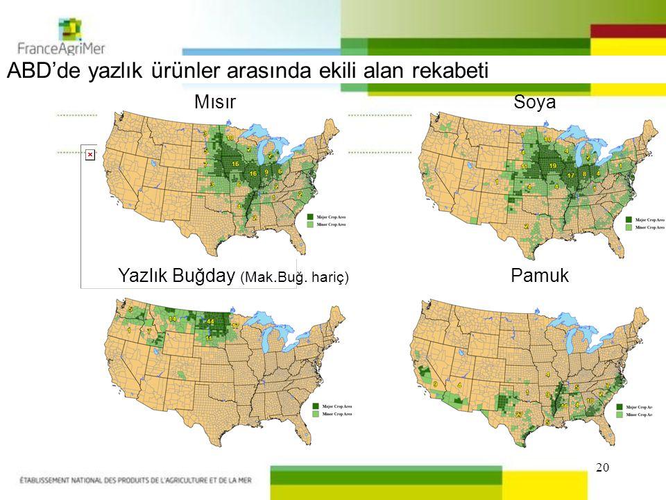 20 ABD'de yazlık ürünler arasında ekili alan rekabeti MısırSoya Yazlık Buğday (Mak.Buğ.