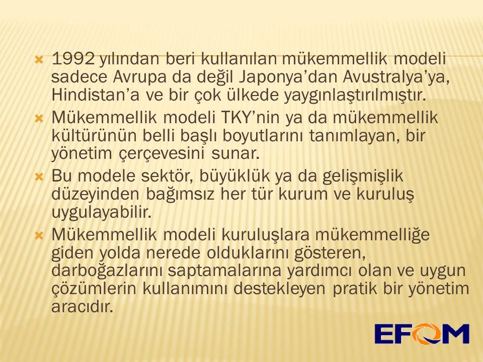  1992 yılından beri kullanılan mükemmellik modeli sadece Avrupa da değil Japonya'dan Avustralya'ya, Hindistan'a ve bir çok ülkede yaygınlaştırılmıştır.