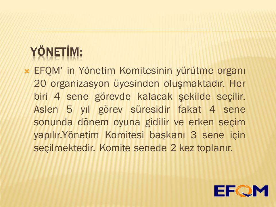  EFQM' in Yönetim Komitesinin yürütme organı 20 organizasyon üyesinden oluşmaktadır.