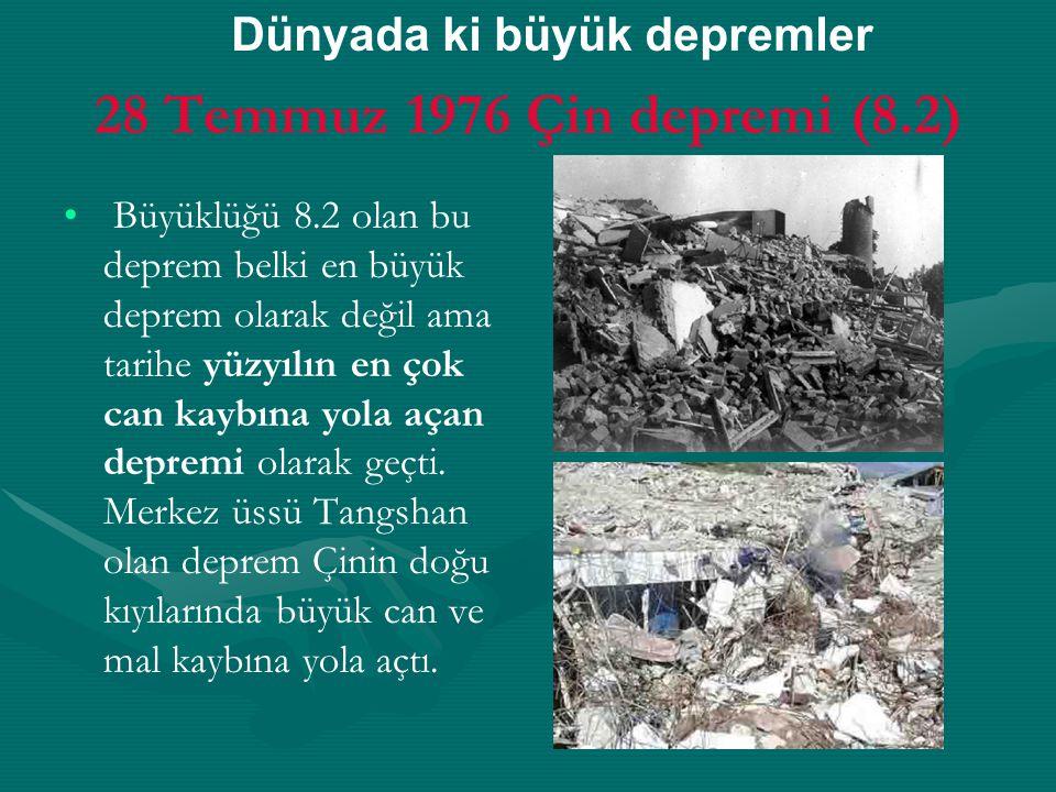 28 Temmuz 1976 Çin depremi (8.2) Büyüklüğü 8.2 olan bu deprem belki en büyük deprem olarak değil ama tarihe yüzyılın en çok can kaybına yola açan depremi olarak geçti.