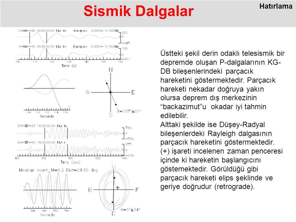Üstteki şekil derin odaklı telesismik bir depremde oluşan P-dalgalarının KG- DB bileşenlerindeki parçacık hareketini göstermektedir.