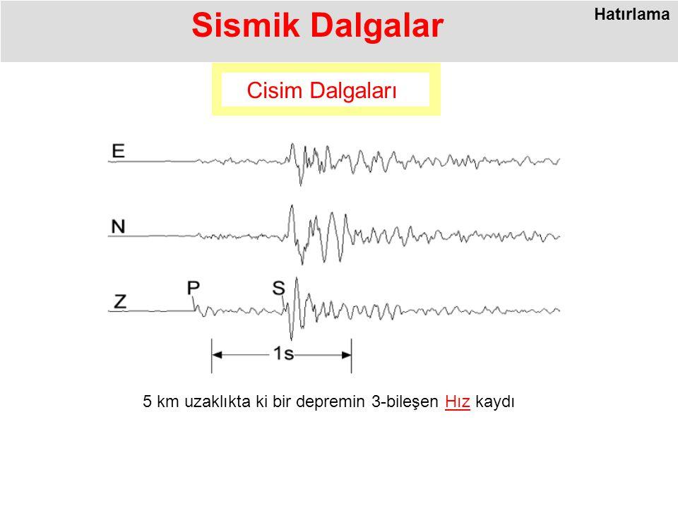 Sismik Dalgalar 5 km uzaklıkta ki bir depremin 3-bileşen Hız kaydı Cisim Dalgaları Hatırlama