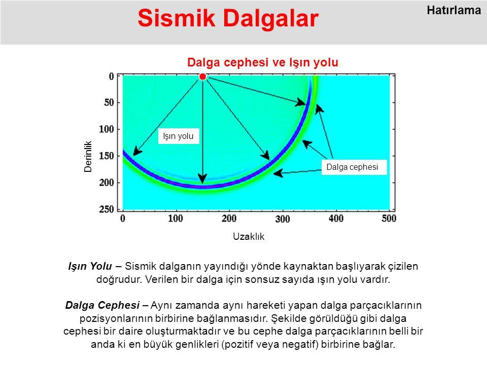 Sismik Dalgalar Işın Yolu – Sismik dalganın yayındığı yönde kaynaktan başlıyarak çizilen doğrudur.