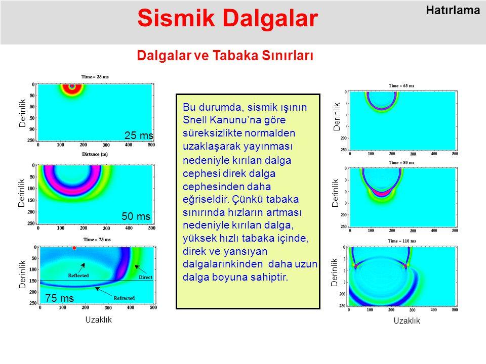 Uzaklık Derinlik 50 ms Derinlik 25 ms Uzaklık Derinlik 75 ms Sismik Dalgalar Dalgalar ve Tabaka Sınırları Bu durumda, sismik ışının Snell Kanunu'na göre süreksizlikte normalden uzaklaşarak yayınması nedeniyle kırılan dalga cephesi direk dalga cephesinden daha eğriseldir.