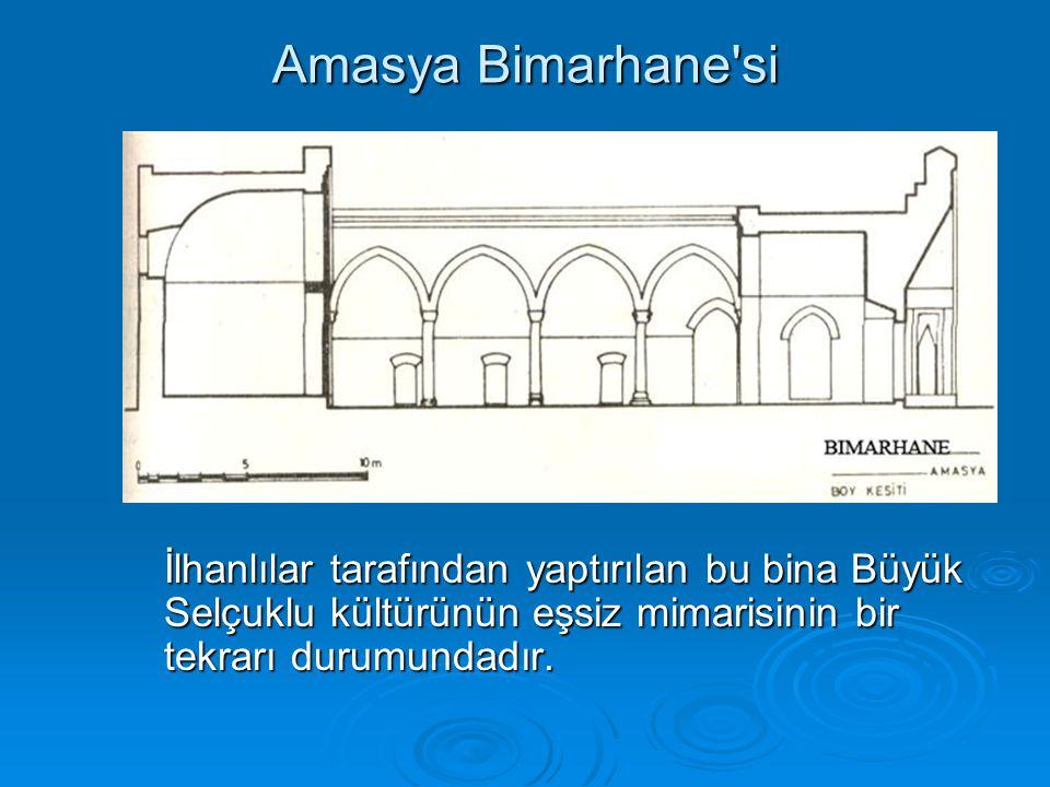 Amasya Bimarhane'si İlhanlılar tarafından yaptırılan bu bina Büyük Selçuklu kültürünün eşsiz mimarisinin bir tekrarı durumundadır.