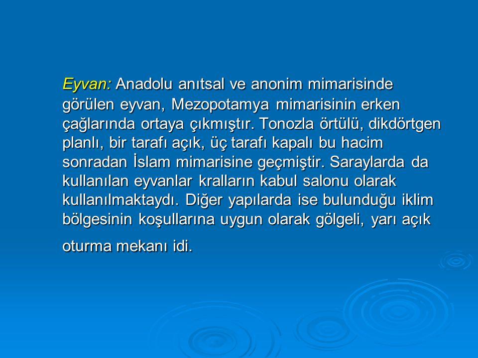 Eyvan: Anadolu anıtsal ve anonim mimarisinde görülen eyvan, Mezopotamya mimarisinin erken çağlarında ortaya çıkmıştır. Tonozla örtülü, dikdörtgen plan