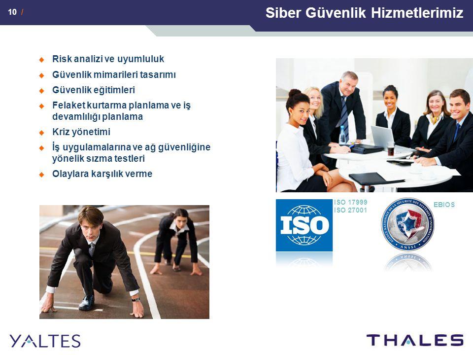10 / Siber Güvenlik Hizmetlerimiz  Risk analizi ve uyumluluk  Güvenlik mimarileri tasarımı  Güvenlik eğitimleri  Felaket kurtarma planlama ve iş devamlılığı planlama  Kriz yönetimi  İş uygulamalarına ve ağ güvenliğine yönelik sızma testleri  Olaylara karşılık verme ISO 17999 ISO 27001 EBIOS