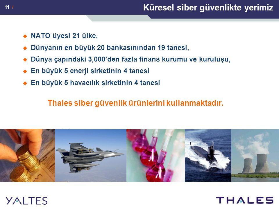 11 / Küresel siber güvenlikte yerimiz  NATO üyesi 21 ülke,  Dünyanın en büyük 20 bankasınından 19 tanesi,  Dünya çapındaki 3,000'den fazla finans kurumu ve kuruluşu,  En büyük 5 enerji şirketinin 4 tanesi  En büyük 5 havacılık şirketinin 4 tanesi Thales siber güvenlik ürünlerini kullanmaktadır.