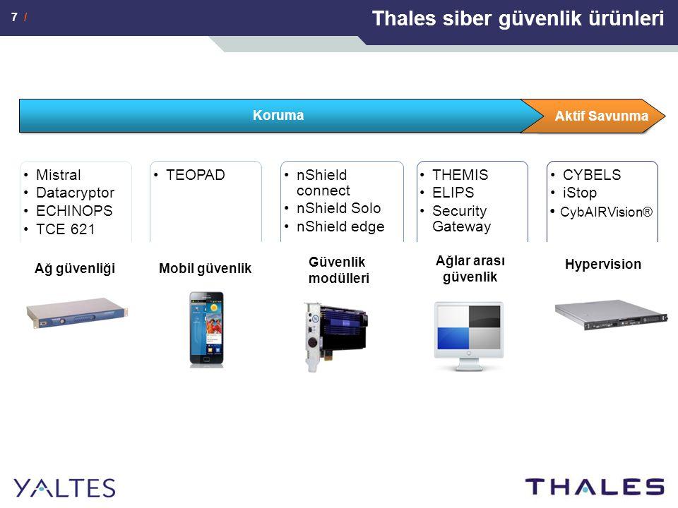 7 / Thales siber güvenlik ürünleri Koruma Aktif Savunma Ağ güvenliği Mobil güvenlik Güvenlik modülleri Ağlar arası güvenlik Hypervision CybAIRVision®