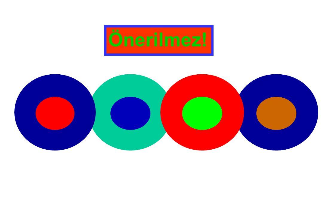 Birincilİkincil Üçüncül Renkler Renk çarkında; tamamlayıcı renkler yan yana, kontrast veren renkler birbirine zıt yerleşir.