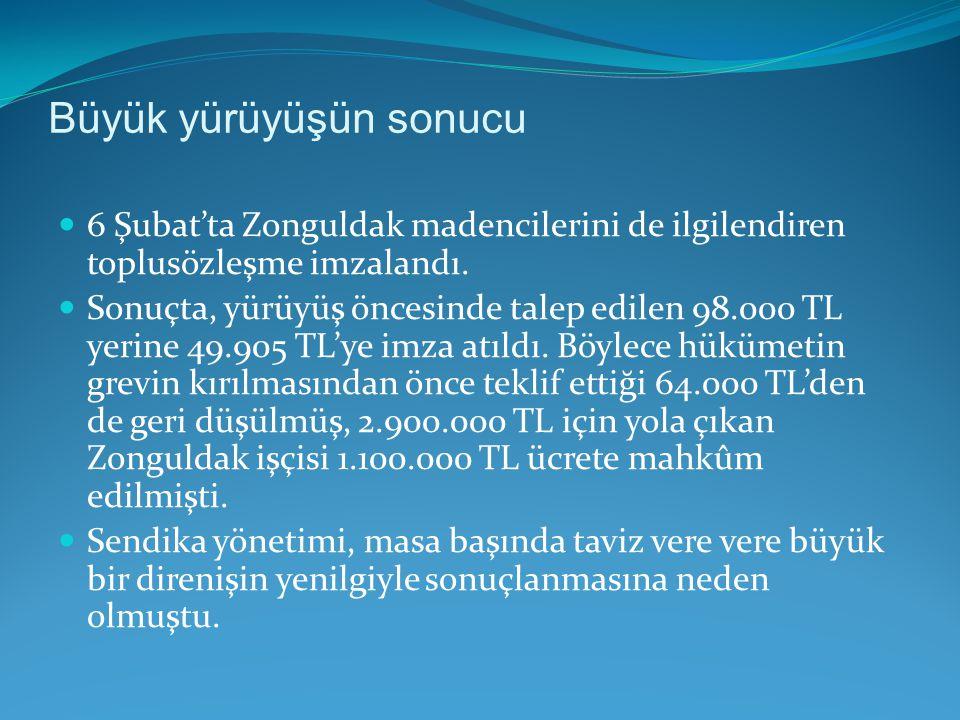 Büyük yürüyüşün sonucu 6 Şubat'ta Zonguldak madencilerini de ilgilendiren toplusözleşme imzalandı. Sonuçta, yürüyüş öncesinde talep edilen 98.000 TL y