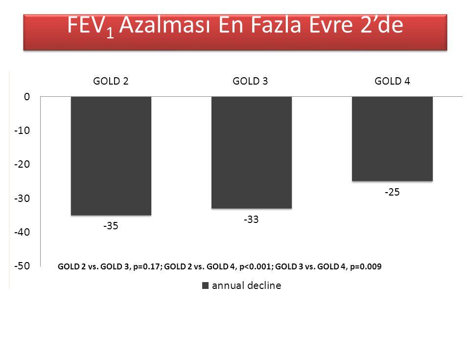 FEV 1 Azalması En Fazla Evre 2'de GOLD 2 vs.GOLD 3, p=0.17; GOLD 2 vs.