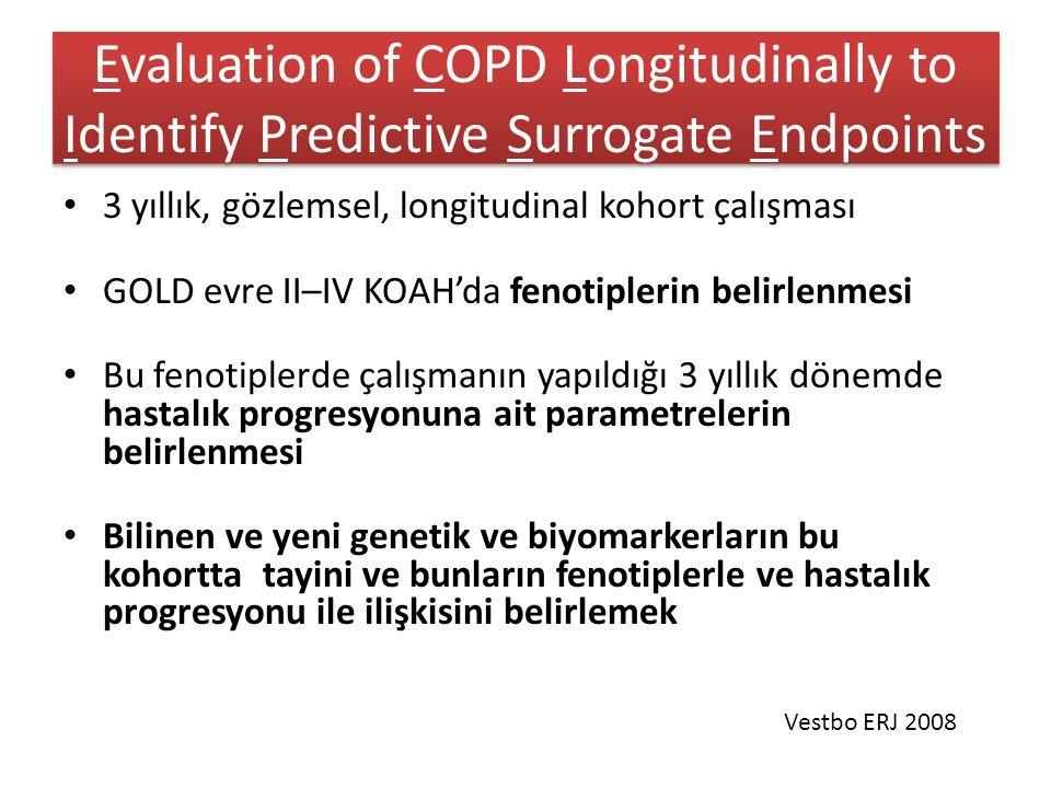 Evaluation of COPD Longitudinally to Identify Predictive Surrogate Endpoints 3 yıllık, gözlemsel, longitudinal kohort çalışması GOLD evre II–IV KOAH'da fenotiplerin belirlenmesi Bu fenotiplerde çalışmanın yapıldığı 3 yıllık dönemde hastalık progresyonuna ait parametrelerin belirlenmesi Bilinen ve yeni genetik ve biyomarkerların bu kohortta tayini ve bunların fenotiplerle ve hastalık progresyonu ile ilişkisini belirlemek Vestbo ERJ 2008