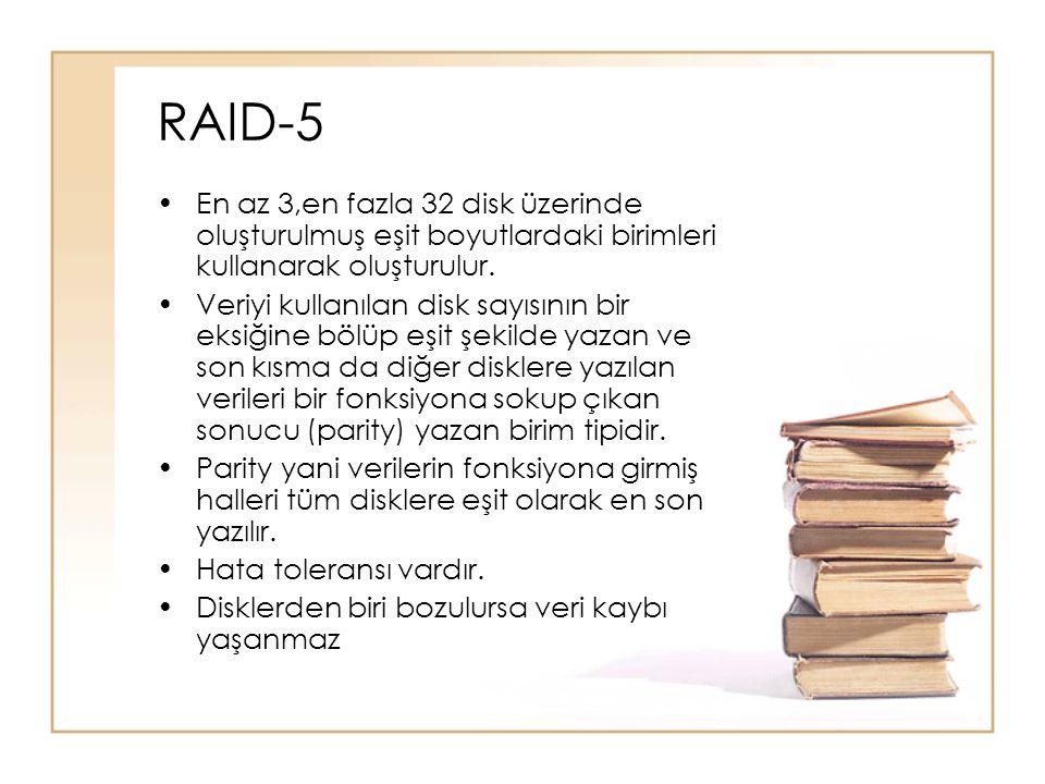 RAID-5 En az 3,en fazla 32 disk üzerinde oluşturulmuş eşit boyutlardaki birimleri kullanarak oluşturulur.