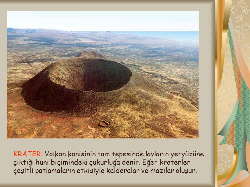 KRATER: Volkan konisinin tam tepesinde lavların yeryüzüne çıktığı huni biçimindeki çukurluğa denir. Eğer kraterler çeşitli patlamaların etkisiyle kald