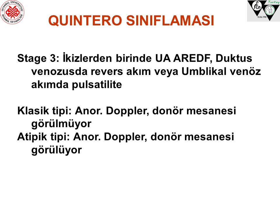 QUINTERO SINIFLAMASI Stage 3: İkizlerden birinde UA AREDF, Duktus venozusda revers akım veya Umblikal venöz akımda pulsatilite Klasik tipi: Anor. Dopp