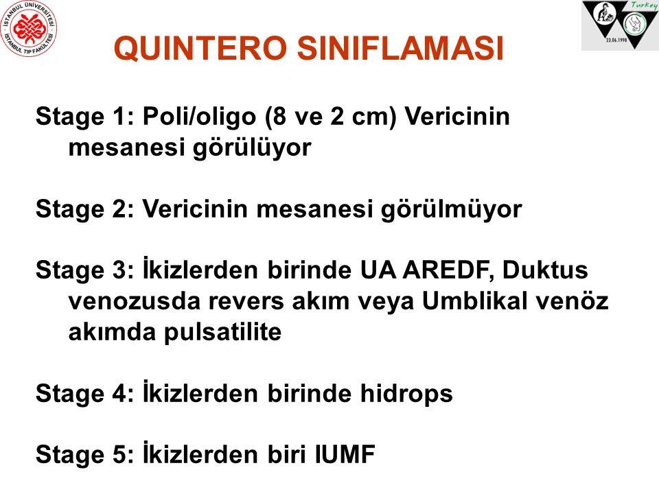 QUINTERO SINIFLAMASI Stage 1: Poli/oligo (8 ve 2 cm) Vericinin mesanesi görülüyor Stage 2: Vericinin mesanesi görülmüyor Stage 3: İkizlerden birinde U