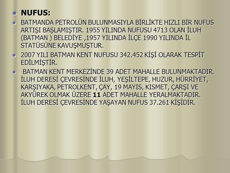 NUFUS: NUFUS: BATMANDA PETROLÜN BULUNMASIYLA BİRLİKTE HIZLI BİR NUFUS ARTIŞI BAŞLAMIŞTIR.
