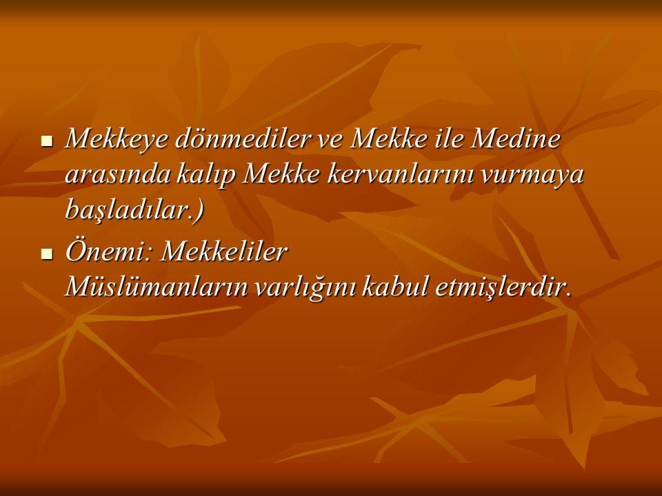Mekkeye dönmediler ve Mekke ile Medine arasında kalıp Mekke kervanlarını vurmaya başladılar.) Mekkeye dönmediler ve Mekke ile Medine arasında kalıp Me