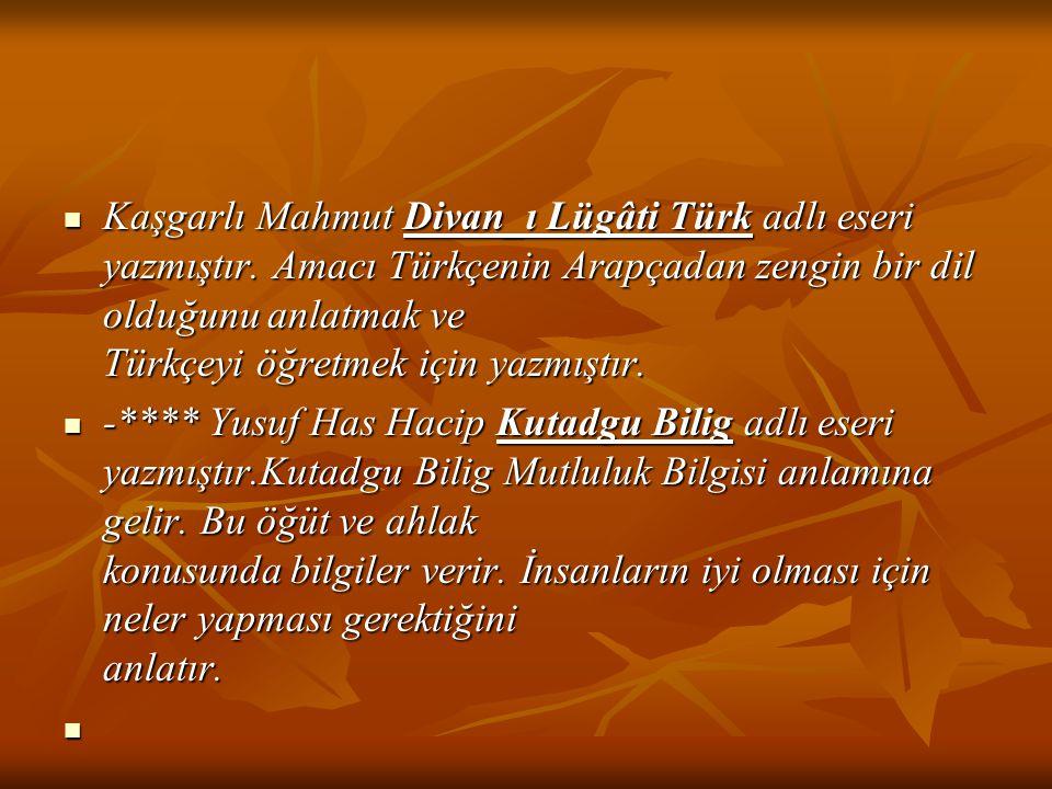 Kaşgarlı Mahmut Divan_ı Lügâti Türk adlı eseri yazmıştır. Amacı Türkçenin Arapçadan zengin bir dil olduğunu anlatmak ve Türkçeyi öğretmek için yazmışt