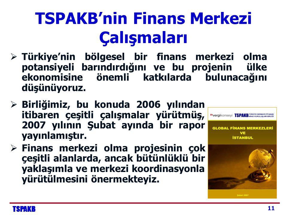 TSPAKB 11 TSPAKB'nin Finans Merkezi Çalışmaları  Türkiye'nin bölgesel bir finans merkezi olma potansiyeli barındırdığını ve bu projenin ülke ekonomisine önemli katkılarda bulunacağını düşünüyoruz.