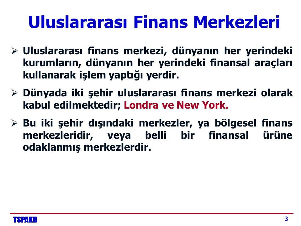 TSPAKB 4 Bölgesel Finans Merkezleri  Tokyo, Frankfurt, Paris gibi şehirler, canlı ve büyük finans sektörü varlığına rağmen, uluslararası finans merkezi olarak kabul edilmemektedir.