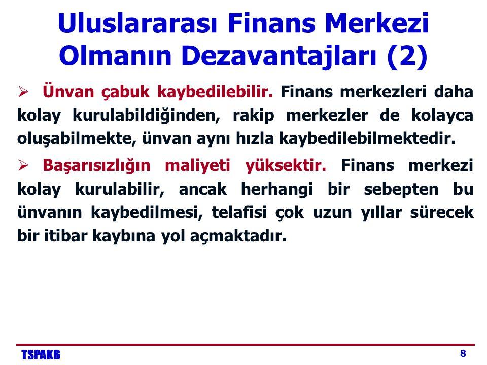 TSPAKB 8 Uluslararası Finans Merkezi Olmanın Dezavantajları (2)  Ünvan çabuk kaybedilebilir.
