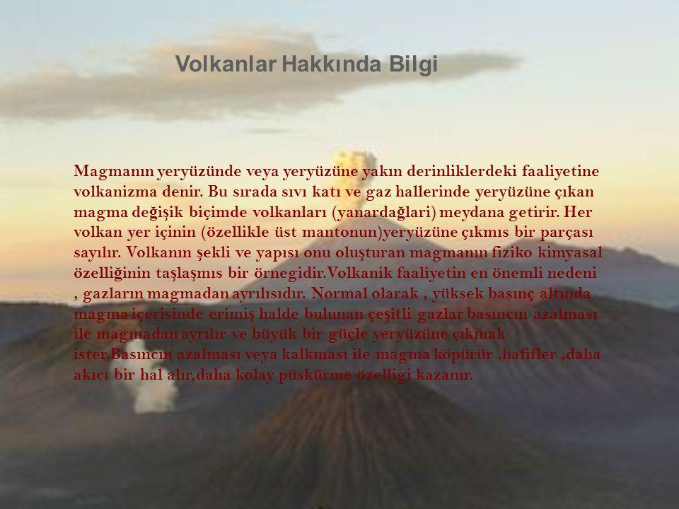 Magmanın yeryüzünde veya yeryüzüne yakın derinliklerdeki faaliyetine volkanizma denir. Bu sırada sıvı katı ve gaz hallerinde yeryüzüne çıkan magma de