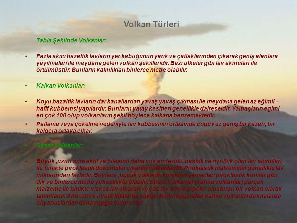 Volkan Türleri Tabla Şeklinde Volkanlar: Fazla akıcı bazaltik lavların yer kabuğunun yarık ve çatlaklarından çıkarak geniş alanlara yayılmalari ile me