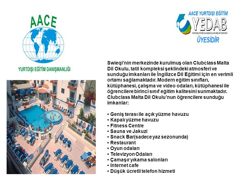 Swieqi'nin merkezinde kurulmuş olan Clubclass Malta Dil Okulu, tatil kompleksi şeklindeki atmosferi ve sunduğu imkanları ile İngilizce Dil Eğitimi içi