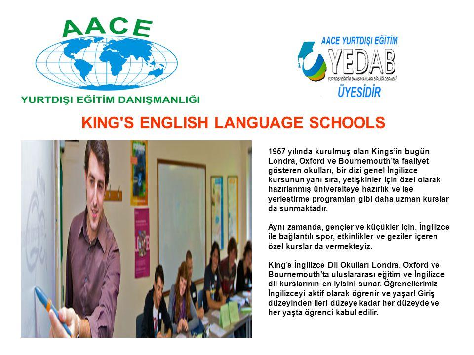 1957 yılında kurulmuş olan Kings'in bugün Londra, Oxford ve Bournemouth'ta faaliyet gösteren okulları, bir dizi genel İngilizce kursunun yanı sıra, ye