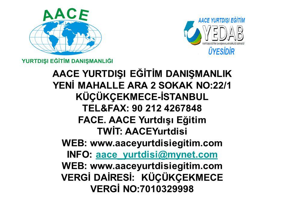 AACE YURTDIŞI EĞİTİM DANIŞMANLIK YENİ MAHALLE ARA 2 SOKAK NO:22/1 KÜÇÜKÇEKMECE-İSTANBUL TEL&FAX: 90 212 4267848 FACE. AACE Yurtdışı Eğitim TWİT: AACEY