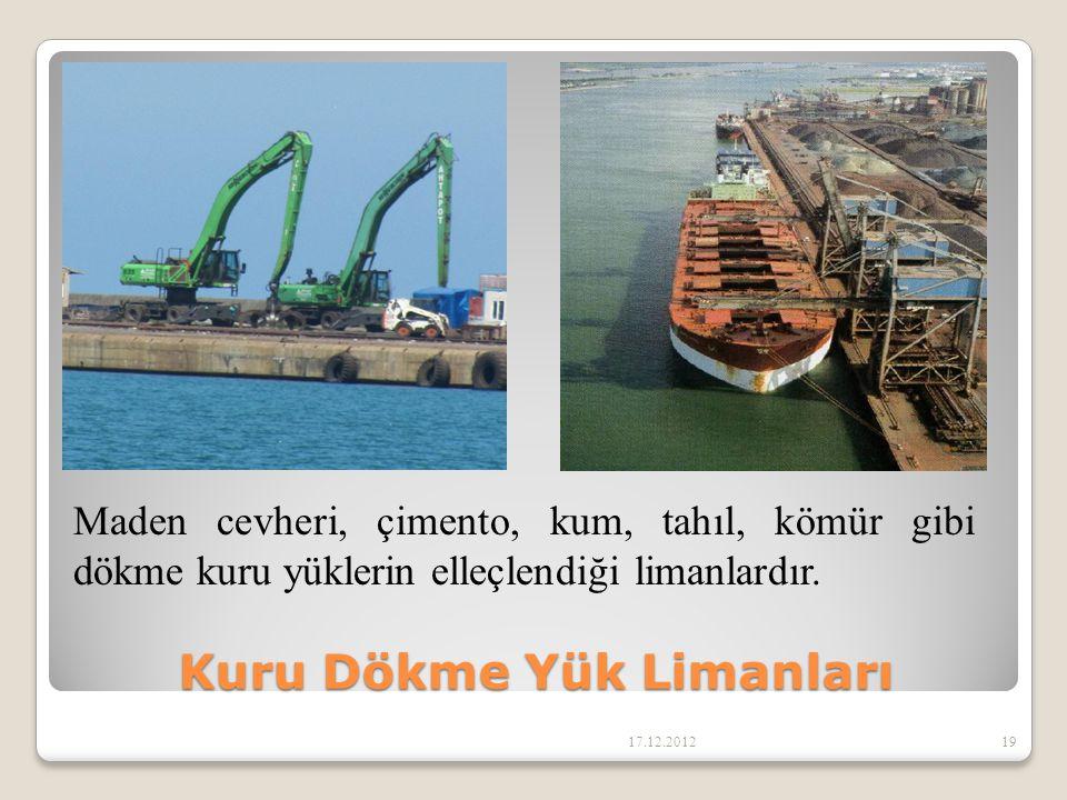 Kuru Dökme Yük Limanları 17.12.201219 Maden cevheri, çimento, kum, tahıl, kömür gibi dökme kuru yüklerin elleçlendiği limanlardır.