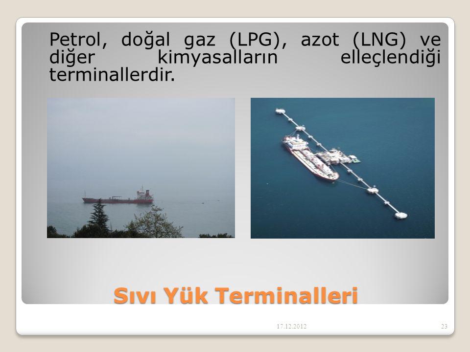Sıvı Yük Terminalleri Petrol, doğal gaz (LPG), azot (LNG) ve diğer kimyasalların elleçlendiği terminallerdir. 17.12.201223