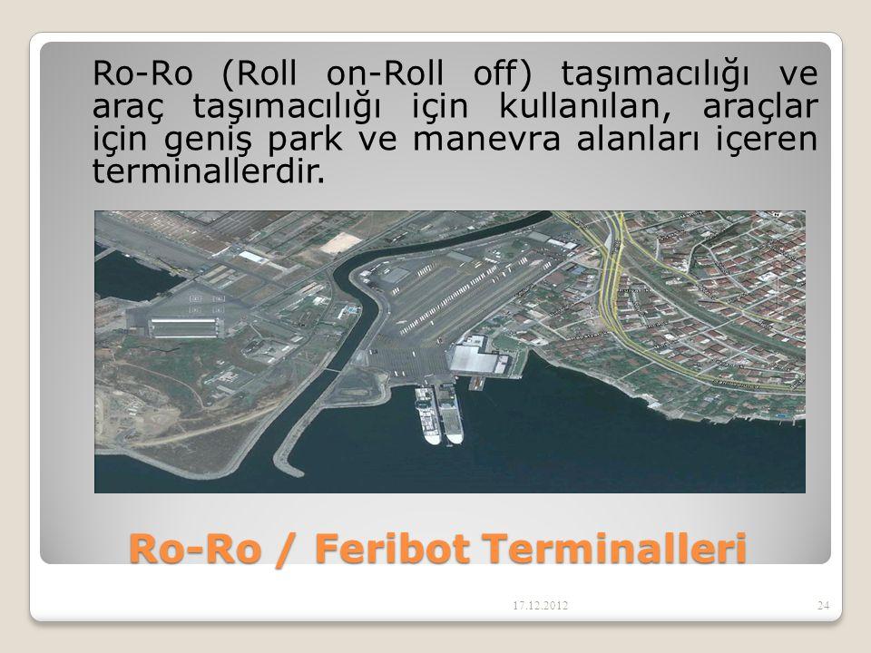 Ro-Ro / Feribot Terminalleri Ro-Ro (Roll on-Roll off) taşımacılığı ve araç taşımacılığı için kullanılan, araçlar için geniş park ve manevra alanları i