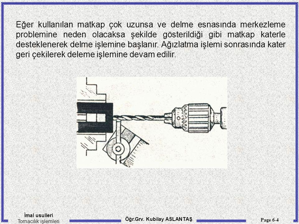 İmal usulleri Tornacılık işlemleri Öğr.Grv. Kubilay ASLANTAŞ Page 6-5 Farklı matkap tipleri