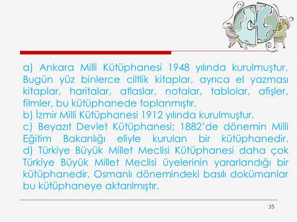 35 a) Ankara Milli Kütüphanesi 1948 yılında kurulmuştur. Bugün yüz binlerce ciltlik kitaplar, ayrıca el yazması kitaplar, haritalar, atlaslar, notalar