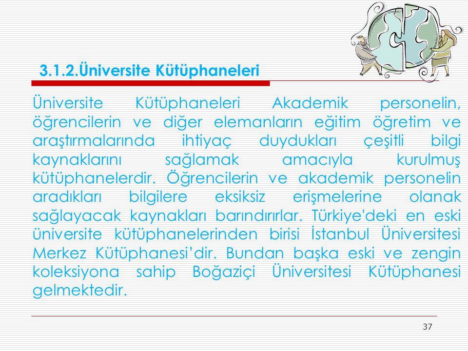 37 Üniversite Kütüphaneleri Akademik personelin, öğrencilerin ve diğer elemanların eğitim öğretim ve araştırmalarında ihtiyaç duydukları çeşitli bilgi
