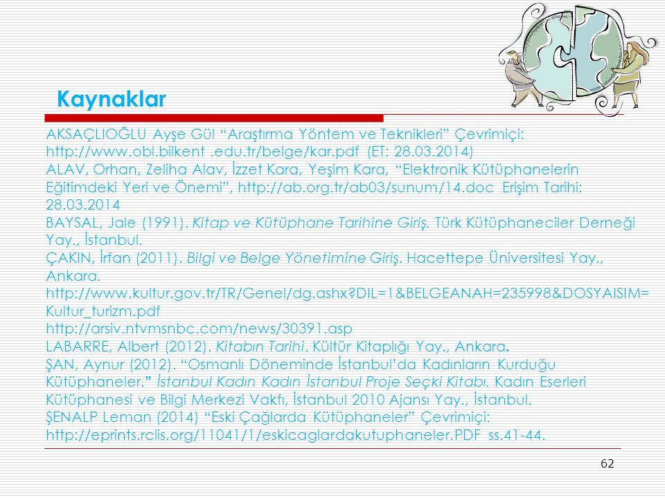 """62 Kaynaklar AKSAÇLIOĞLU Ayşe Gül """"Araştırma Yöntem ve Teknikleri"""" Çevrimiçi: http://www.obl.bilkent.edu.tr/belge/kar.pdf (ET: 28.03.2014) ALAV, Orhan"""