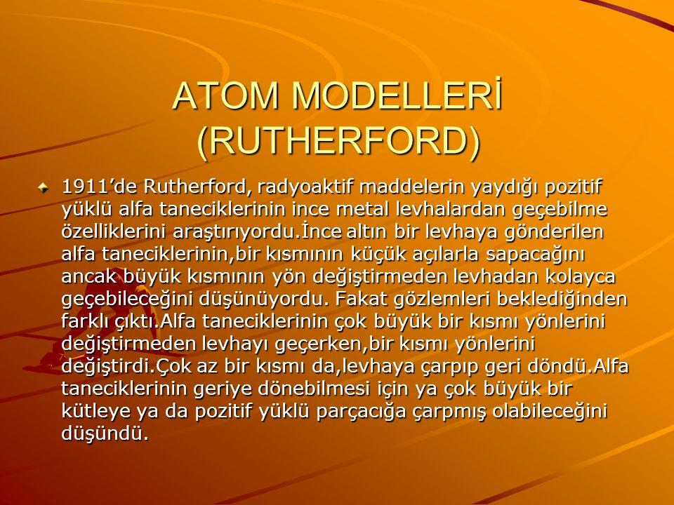 ATOM MODELLERİ(THOMSON) 1. Atomlar,yarıçapları yaklaşık 10-8 cm olan pozitif yüklü kürelerdir.Elektronlar bu kürelere homojen olarak dağılmıştır. 2. A