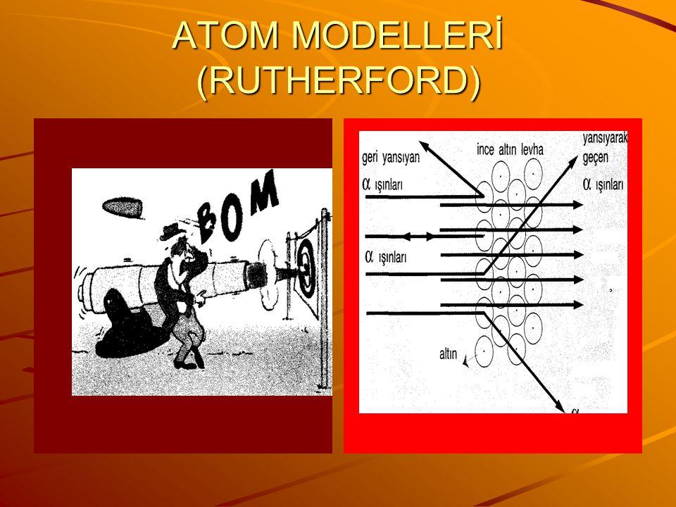 ATOM MODELLERİ (RUTHERFORD) 1911'de Rutherford, radyoaktif maddelerin yaydığı pozitif yüklü alfa taneciklerinin ince metal levhalardan geçebilme özell